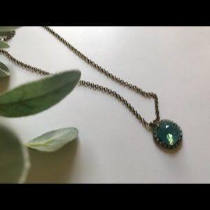 Vintage Jewelry - <VINTAGE> Aquamarine Diamond Pendant Necklace